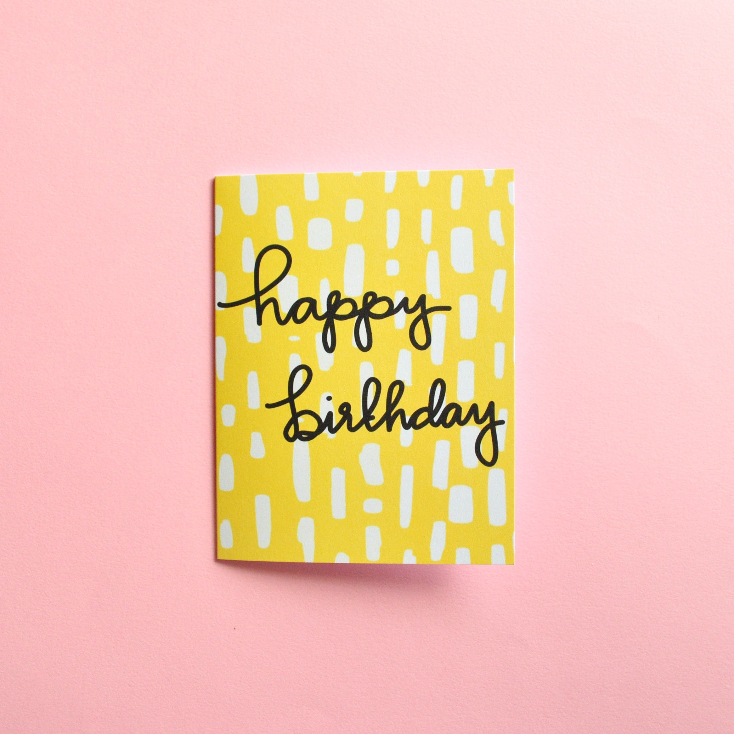 Yellow Pattern Happy Birthday Card