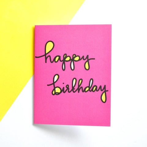 Hot Pink and Yellow Pop Happy Bithday Card