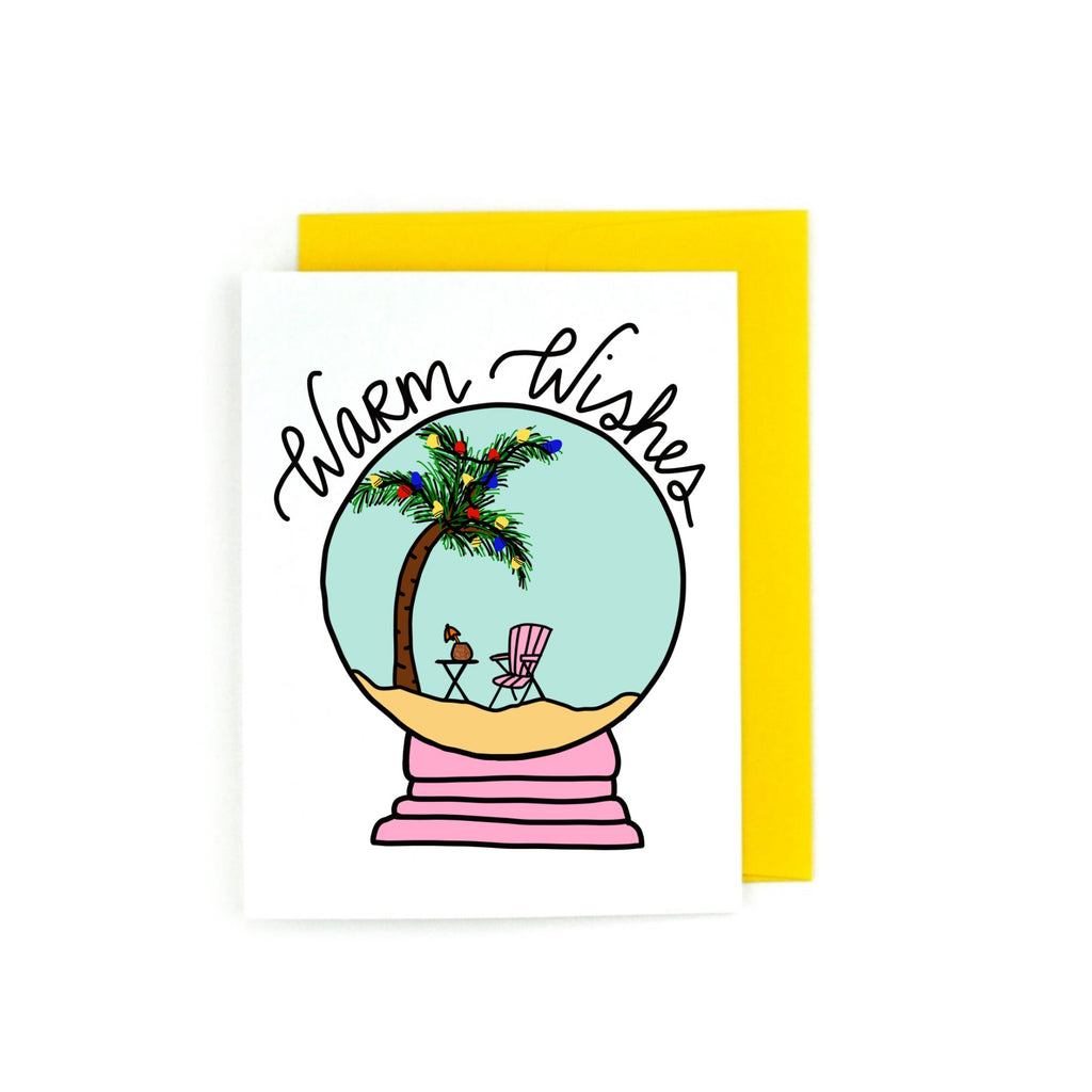 Warm Wishes Tropical Snow Globe Holiday Greeting Card