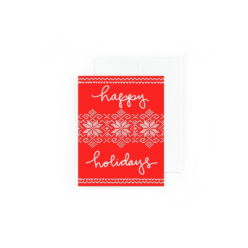 Happy Holidays Sweater Pattern Card
