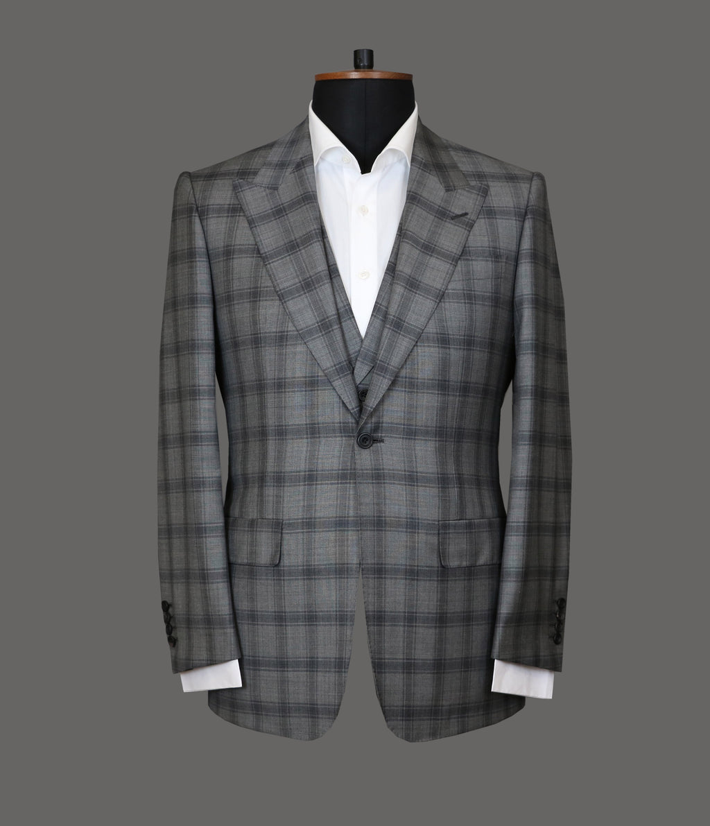 LUT011<br>Grey Check 3 Piece Suit<br>10100