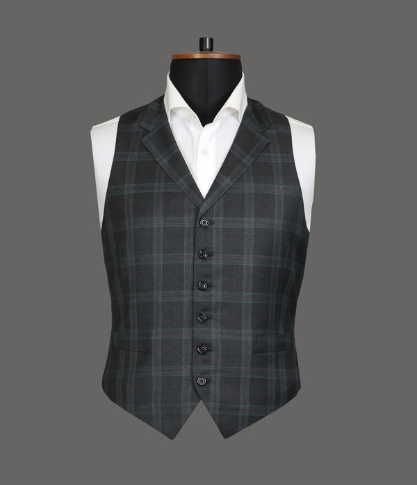 Grey With Bottle Green Check Waistcoat - 3204/2