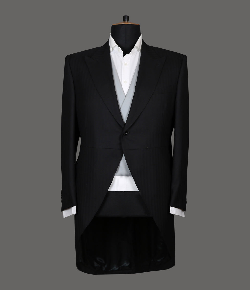 LUT104<br>Black Herringbone Morning Suit Coat<br>9364 / 3295