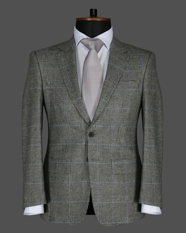 TLA013 - Grey Blue Prince Of Wales Check Suit