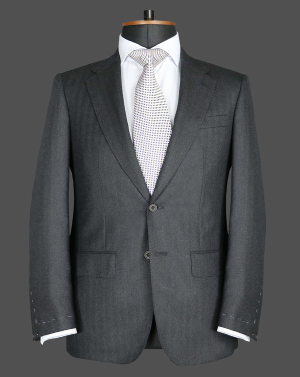 TLA052 - Dark Grey Herringbone Suit