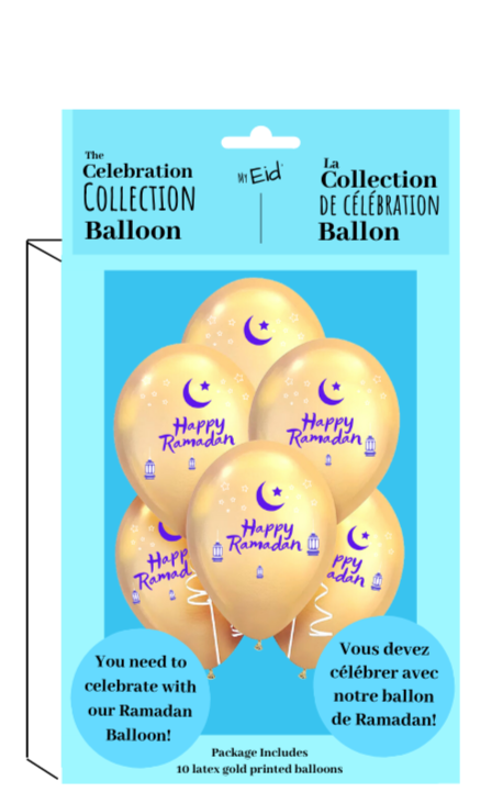 PICKUP ONLY - Happy Ramadan Balloons - 10,  Twelve Inch balloons per package