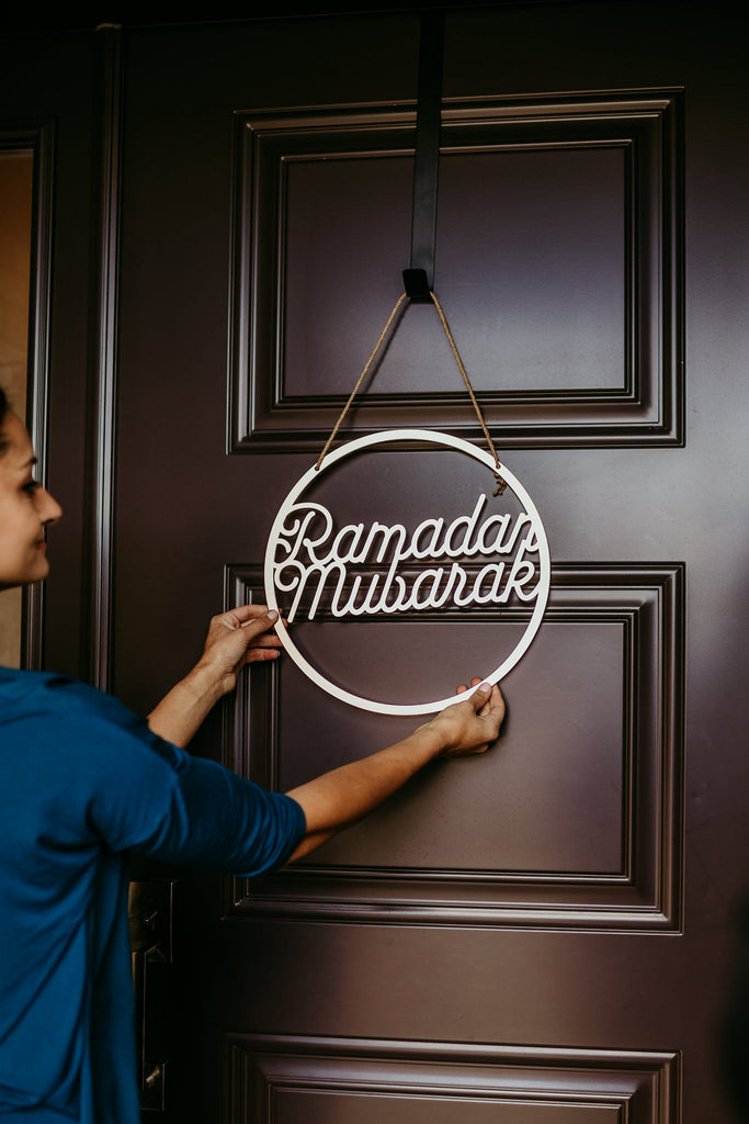 Ramadan Mubarak Door Decor in Rose Gold