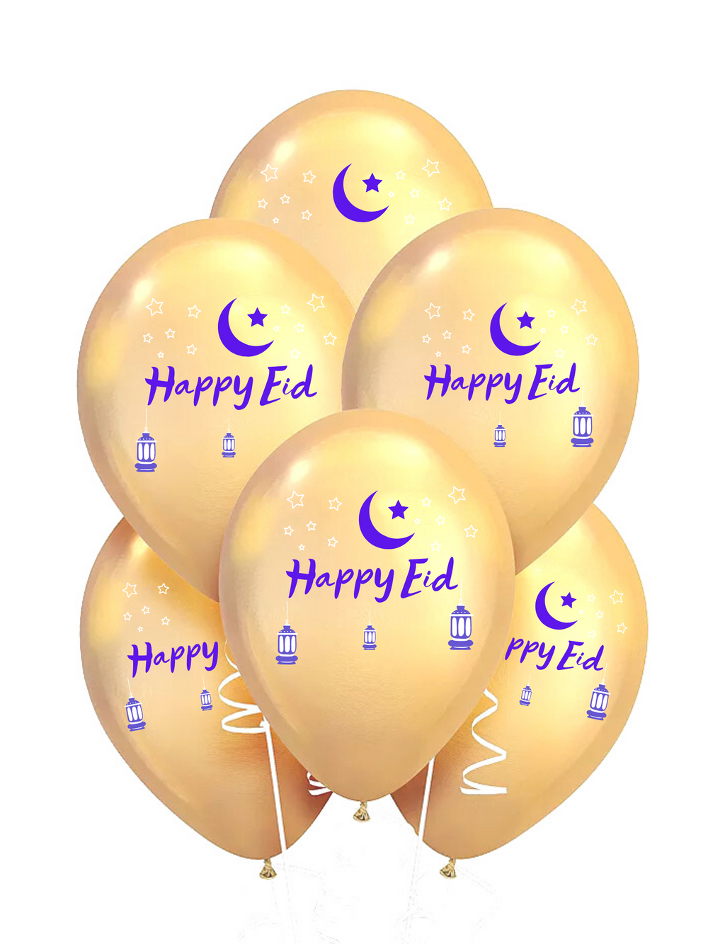 Happy Eid Balloons - 10,  Twelve Inch balloons per package