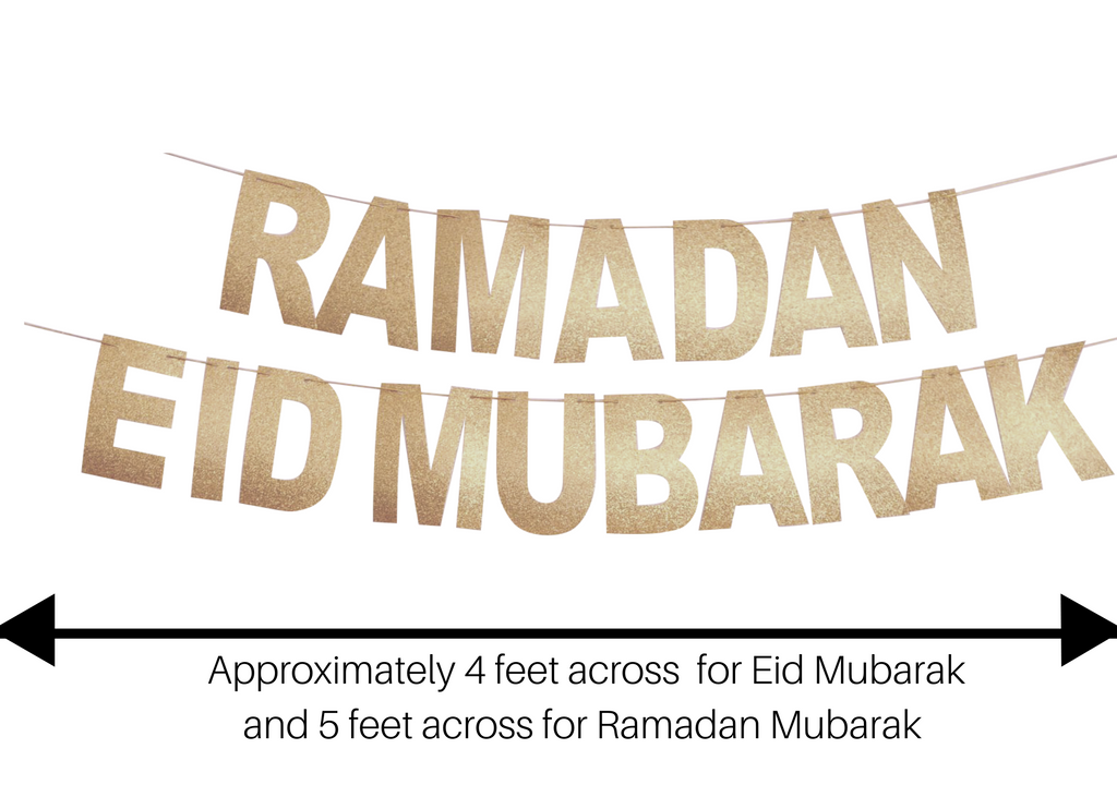 Two Shiny Pale Gold Banners: Ramadan Mubarak and Eid Mubarak