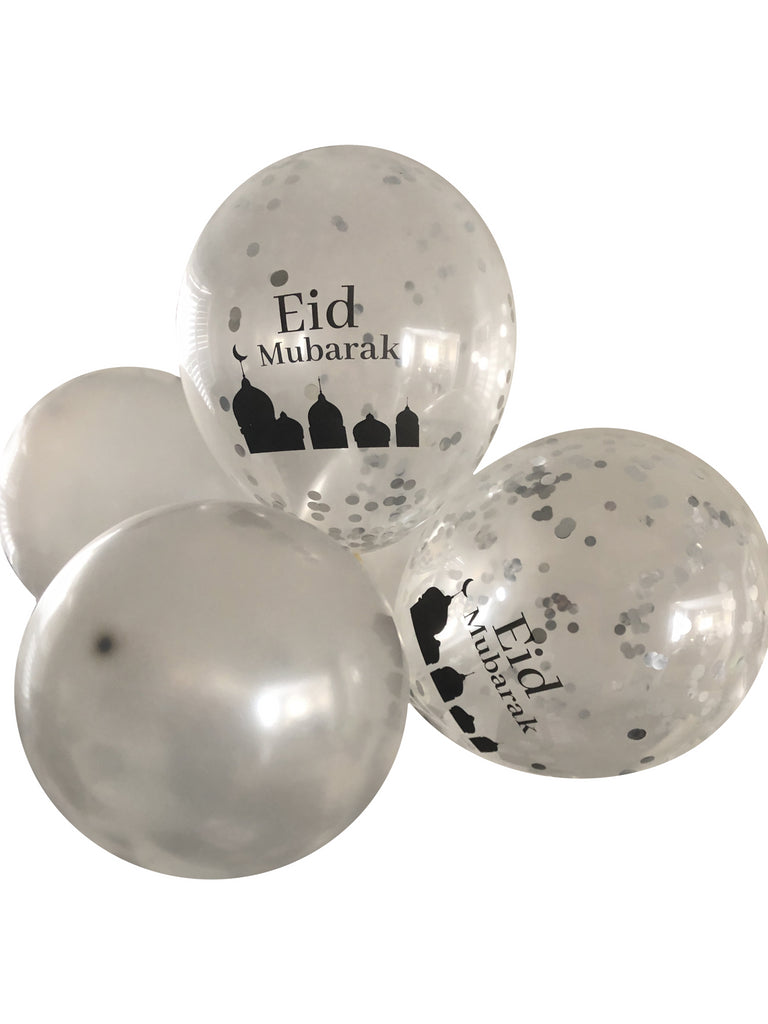 Silver Confetti and Metallic Sliver Eid Mubarak 12inch Latex Balloons
