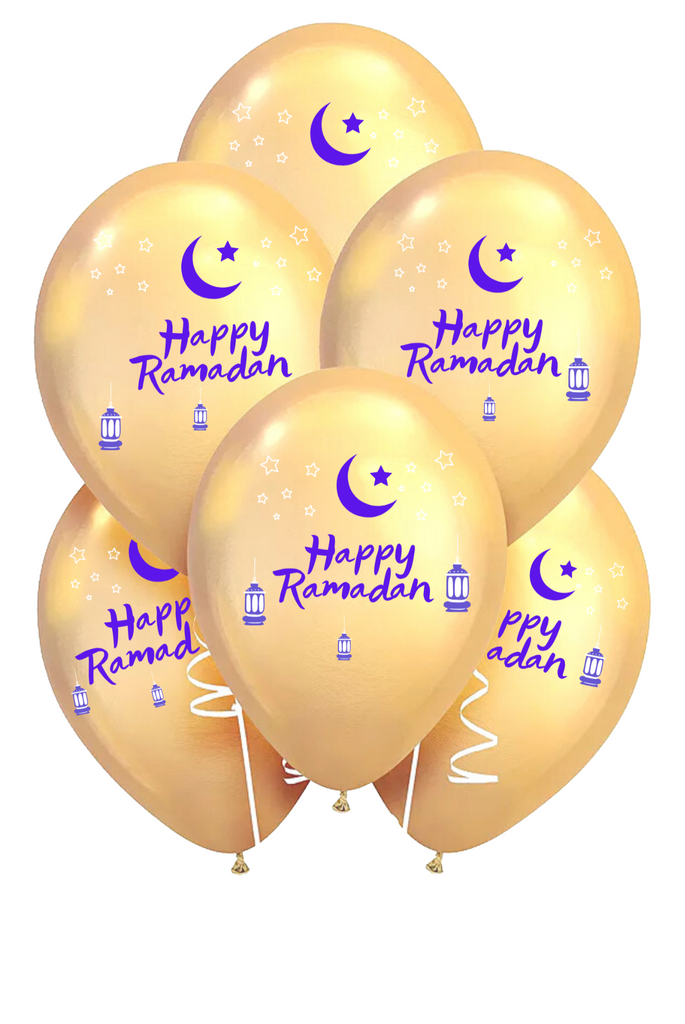 Happy Ramadan Balloons - 10,  Twelve Inch balloons per package