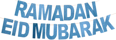 Two Blue Sparkle Banners: Ramadan Mubarak and Eid Mubarak Banners