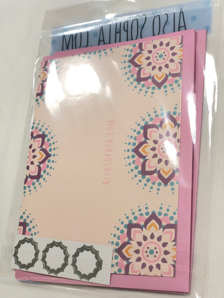 Pretty Pink Eid Mubarak Cards: 3 Blank Greeting Cards per Package