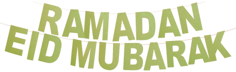 Two Lime Green Sparkle Banners: Ramadan Mubarak and Eid Mubarak Banners