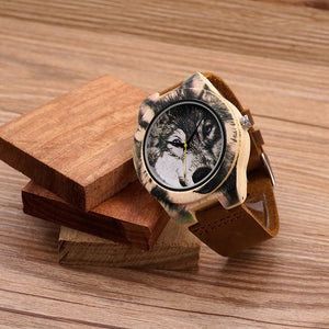 Wooden Wolf Themed Watch - Ahoo store