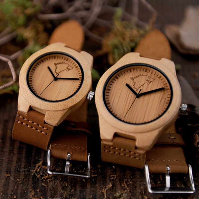 Bamboo Case Leather Band Wolf Watch - Ahoo store