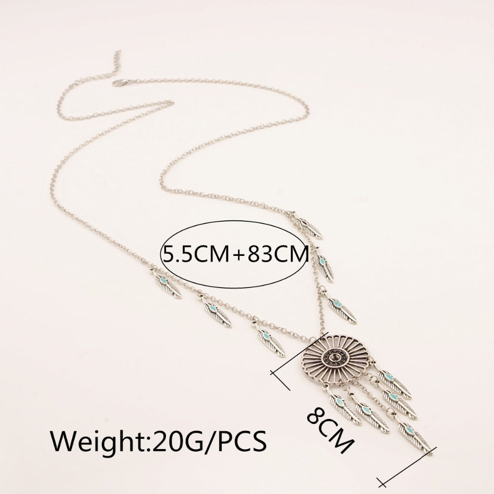 Indian Feather Dream Catcher Necklace - Ahoo store