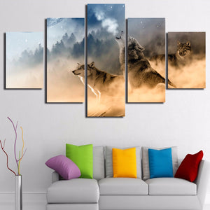 Three Wolves Canvas Painting 5Pcs - Ahoo store