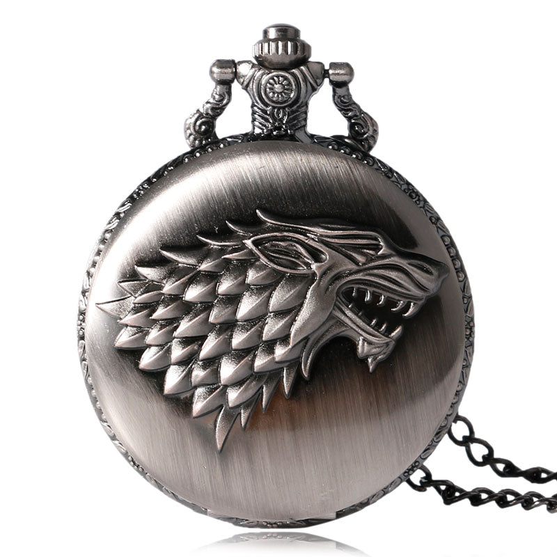 Game of Thrones Wolf Themed Watch With Long Chain - Ahoo store