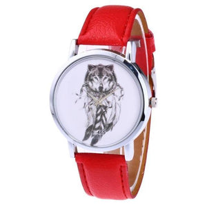 Casual Wolf Pattern Leather Wrist Watch - Ahoo store