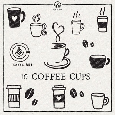10 Coffee Cups | VB29 Craft House SVG - SVG files for Cricut and Silhouette