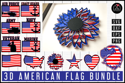 3D American Flag SVG Bundle | MB88 Craft House SVG - SVG files for Cricut and Silhouette