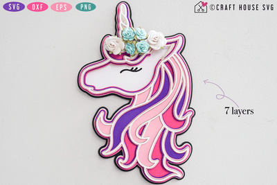 3D Layered Unicorn SVG Craft House SVG - SVG files for Cricut and Silhouette