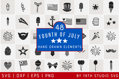 4th of July Illustration Bundle | VB37 Craft House SVG - SVG files for Cricut and Silhouette