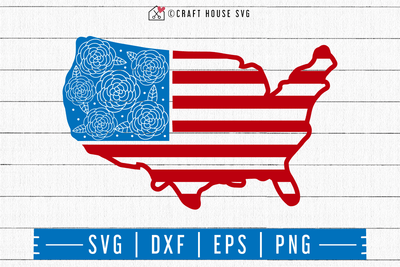 4th of July SVG file | Floral USA Flag SVG Craft House SVG - SVG files for Cricut and Silhouette
