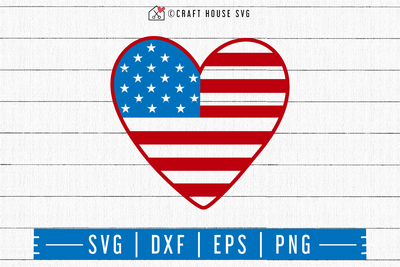 4th of July SVG file | Heart American Flag SVG Craft House SVG - SVG files for Cricut and Silhouette