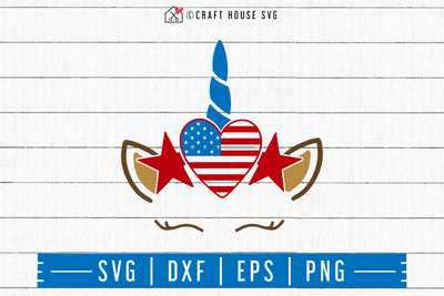 4th of July SVG file | Heart American Flag Unicorn SVG Craft House SVG - SVG files for Cricut and Silhouette