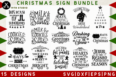 Christmas sign SVG bundle - M36 Craft House SVG - SVG files for Cricut and Silhouette