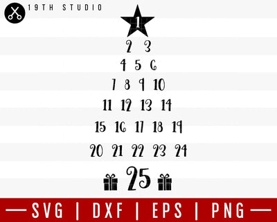 Christmas tree calendar SVG | M36F2 Craft House SVG - SVG files for Cricut and Silhouette