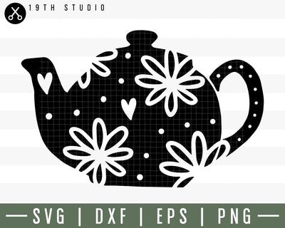 Floral tea pot SVG | M30F4 Craft House SVG - SVG files for Cricut and Silhouette
