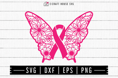 FREE Awareness ribbon butterfly mandala SVG | FB110 Craft House SVG - SVG files for Cricut and Silhouette