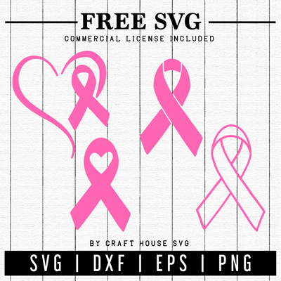 FREE | Breast Cancer Awareness Ribbons SVG | FB11 Craft House SVG - SVG files for Cricut and Silhouette