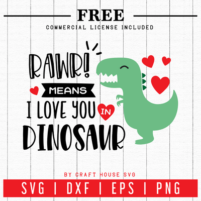 FREE | Dinosaur Valentines SVG | FB46 Craft House SVG - SVG files for Cricut and Silhouette