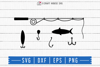 FREE Fishing rod SVG | FB114 Craft House SVG - SVG files for Cricut and Silhouette