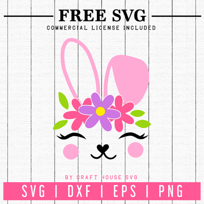 Free Floral Bunny Easter SVG | FB62 Craft House SVG - SVG files for Cricut and Silhouette