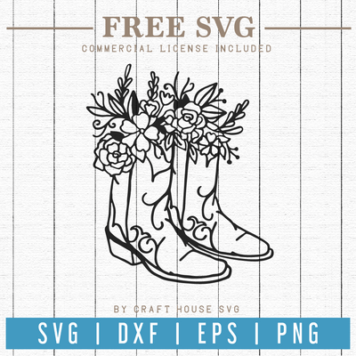 Free Floral Cowboy Boots SVG | FB75 Craft House SVG - SVG files for Cricut and Silhouette