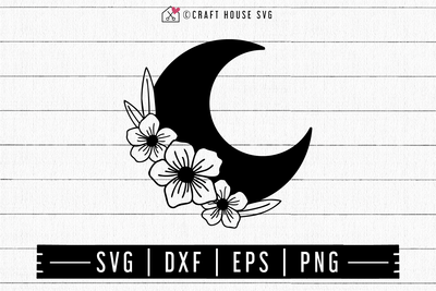 FREE Floral Moon SVG | FB127 Craft House SVG - SVG files for Cricut and Silhouette
