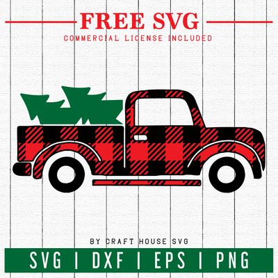 FREE | Plaid Christmas Truck SVG | FB12 Craft House SVG - SVG files for Cricut and Silhouette
