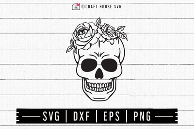 FREE Skull and roses SVG | FB130 Craft House SVG - SVG files for Cricut and Silhouette