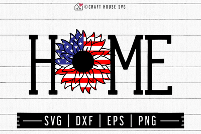 FREE Sunflower American Flag Home Sign SVG | FB128 Craft House SVG - SVG files for Cricut and Silhouette