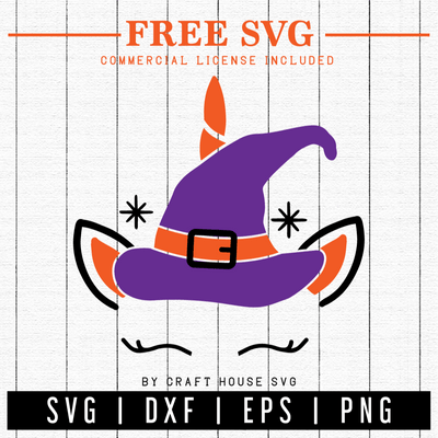 FREE | Unicorn Witch SVG | FB10 Craft House SVG - SVG files for Cricut and Silhouette