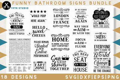 Funny Bathroom Signs SVG bundle - M32 Craft House SVG - SVG files for Cricut and Silhouette