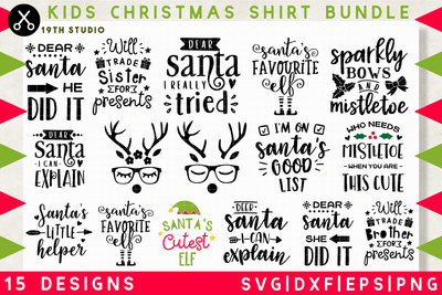 Kids Christmas Shirt SVG bundle - M37 Craft House SVG - SVG files for Cricut and Silhouette