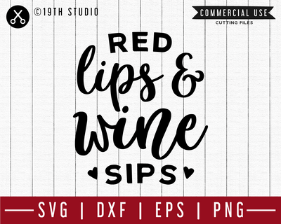 Red lips and wine sip SVG | M47F | A Wine SVG cut file Craft House SVG - SVG files for Cricut and Silhouette
