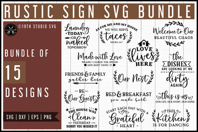 Rustic Sign SVG Bundle | MB60 Craft House SVG - SVG files for Cricut and Silhouette