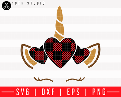 Unicorn heart plaid SVG | M43F43 Craft House SVG - SVG files for Cricut and Silhouette